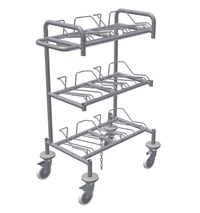 Wafer Transport Cart - 6 nests for 8